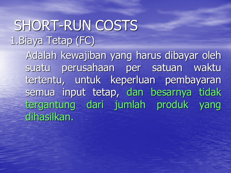SHORT-RUN COSTS
