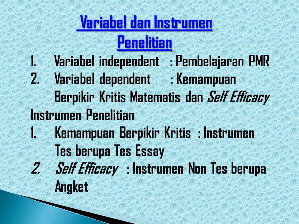 Variabel dan Instrumen Penelitian