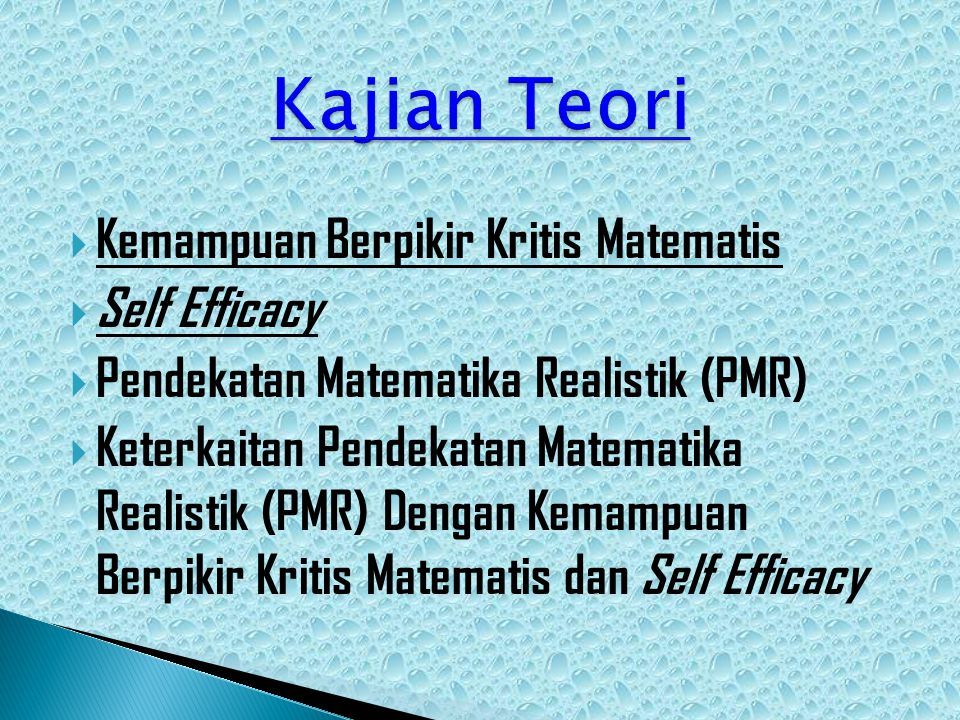 Kajian Teori Kemampuan Berpikir Kritis Matematis Self Efficacy