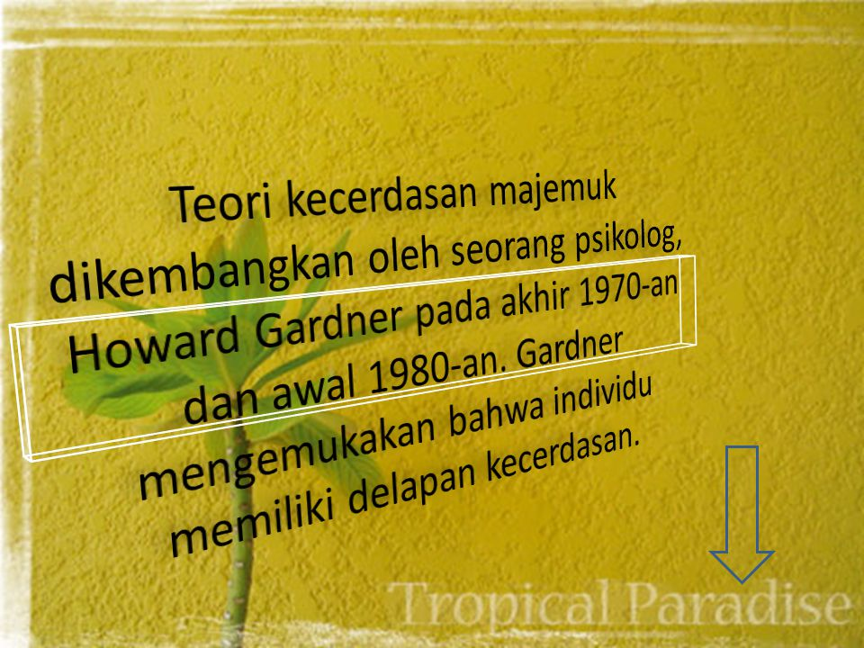 Teori kecerdasan majemuk dikembangkan oleh seorang psikolog, Howard Gardner pada akhir 1970-an dan awal 1980-an.
