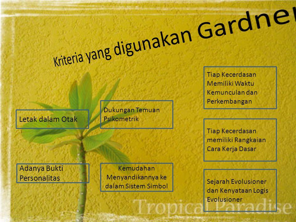 Kriteria yang digunakan Gardner
