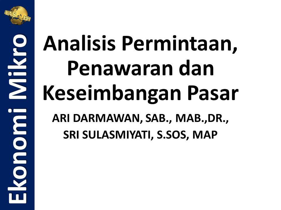 Analisis Permintaan, Penawaran dan Keseimbangan Pasar