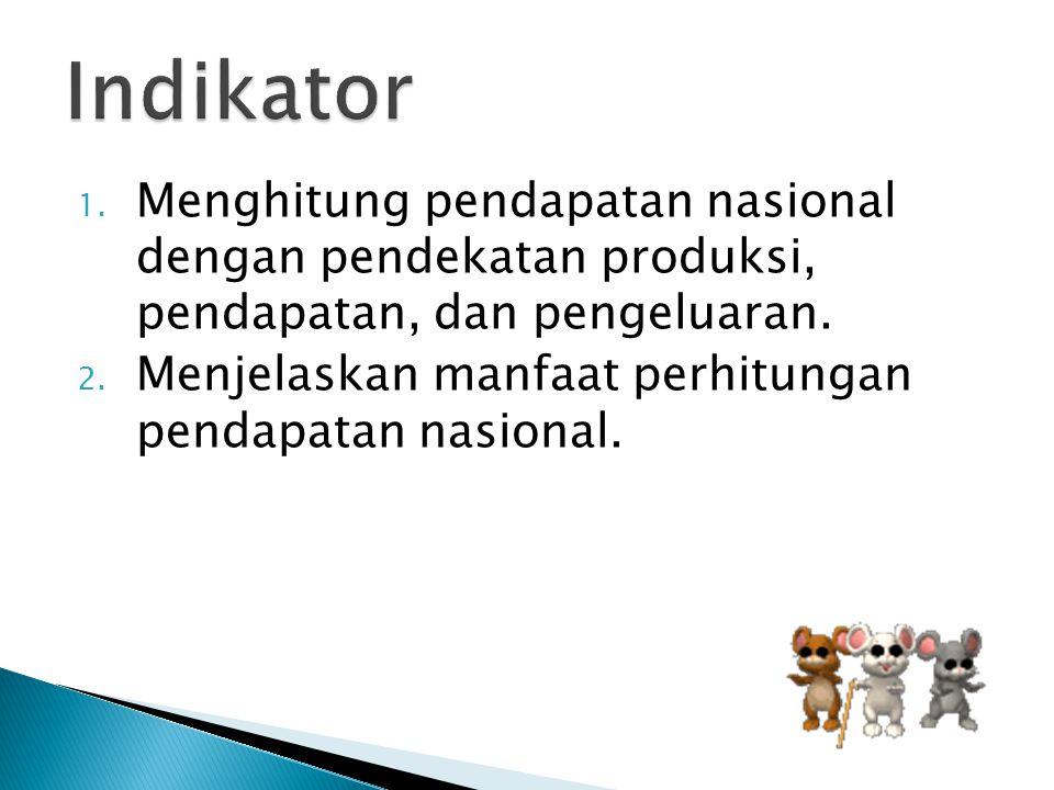 Indikator Menghitung pendapatan nasional dengan pendekatan produksi, pendapatan, dan pengeluaran.