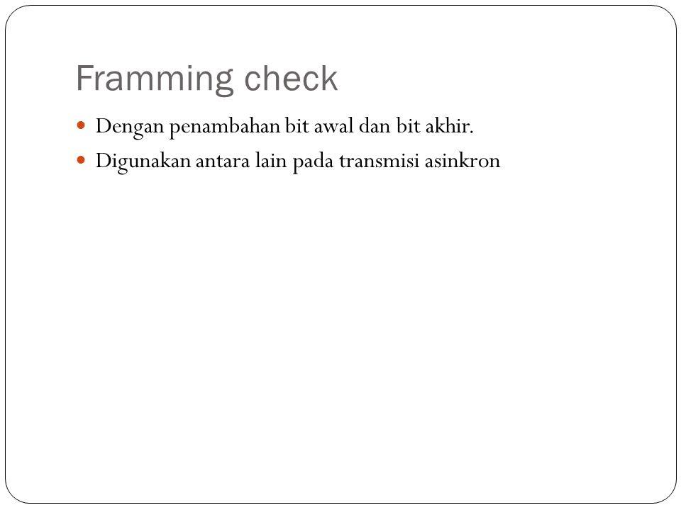 Framming check Dengan penambahan bit awal dan bit akhir.