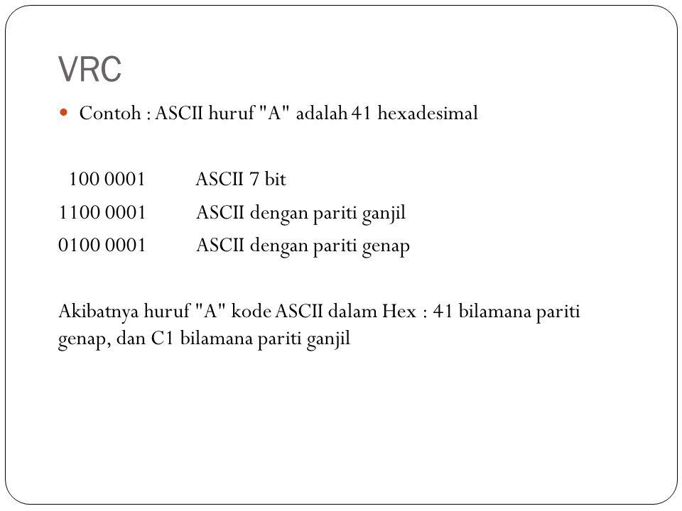 VRC Contoh : ASCII huruf A adalah 41 hexadesimal