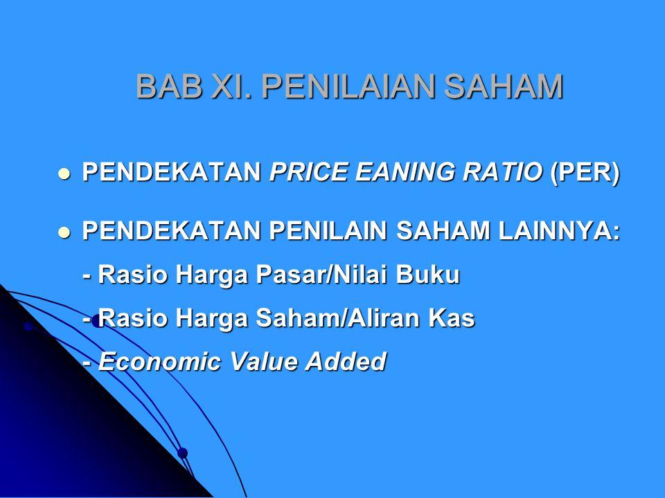 BAB XI. PENILAIAN SAHAM PENDEKATAN PRICE EANING RATIO (PER)