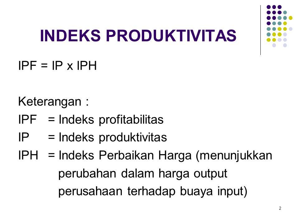 INDEKS PRODUKTIVITAS IPF = IP x IPH Keterangan :