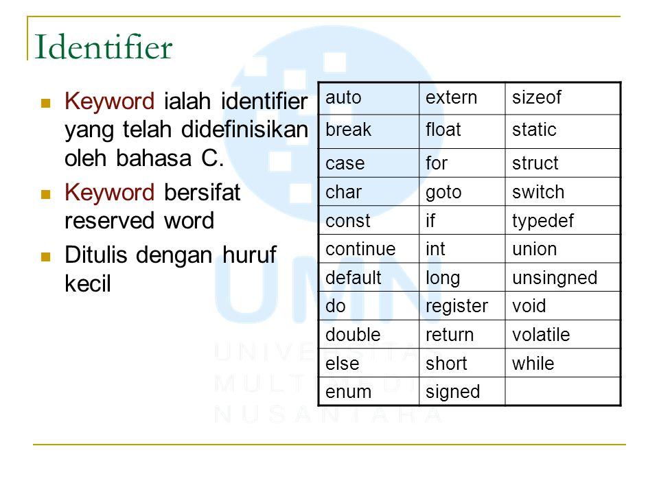 Identifier Keyword ialah identifier yang telah didefinisikan oleh bahasa C. Keyword bersifat reserved word.
