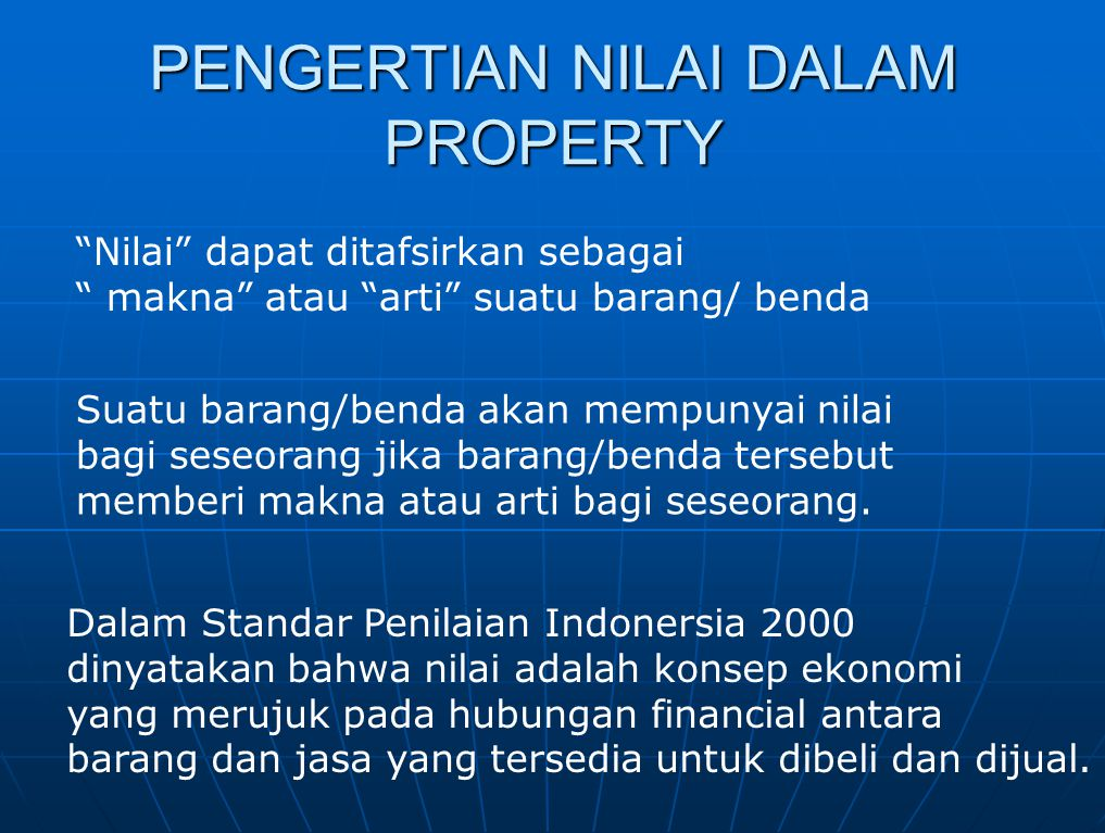 Nilai Pasar (market value) Nilai Guna (use value)