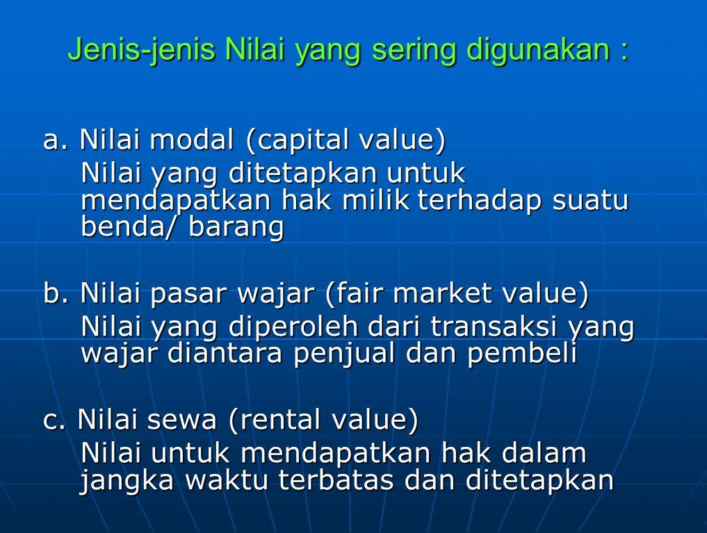 d. Nilai penjualan (sale value)