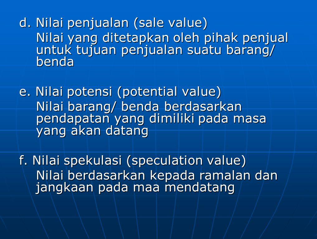 g. Nilai penggunaan (usage value)