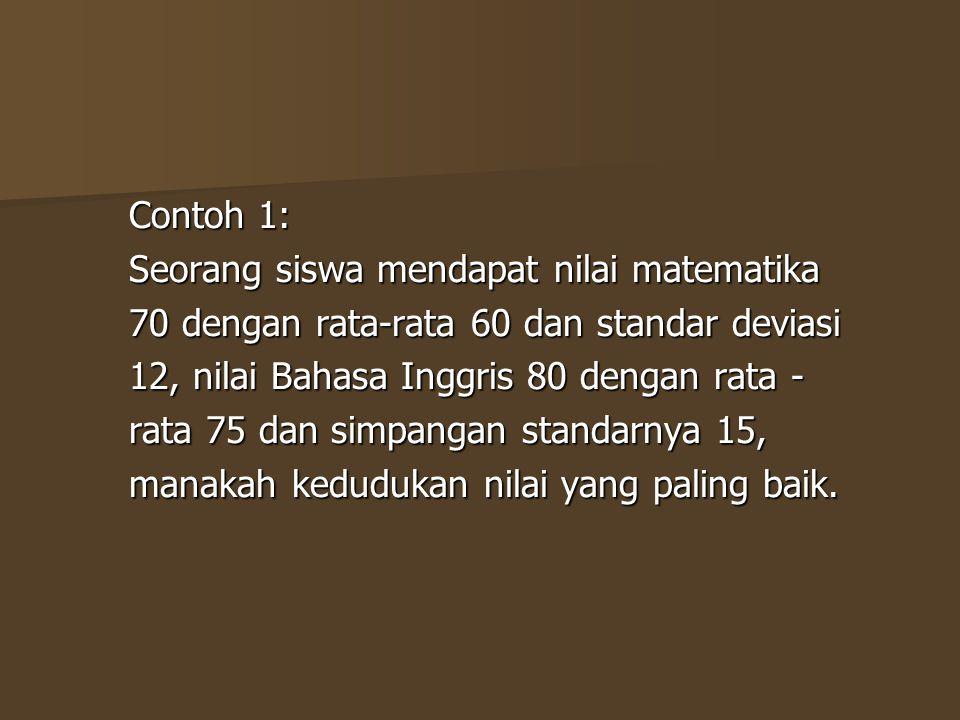 Contoh 1: Seorang siswa mendapat nilai matematika. 70 dengan rata-rata 60 dan standar deviasi. 12, nilai Bahasa Inggris 80 dengan rata -