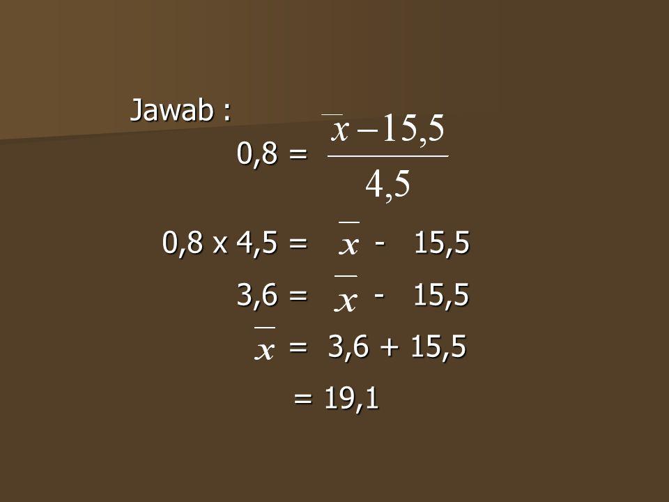 Jawab : 0,8 = 0,8 x 4,5 = - 15,5 3,6 = - 15,5 = 3,6 + 15,5 = 19,1
