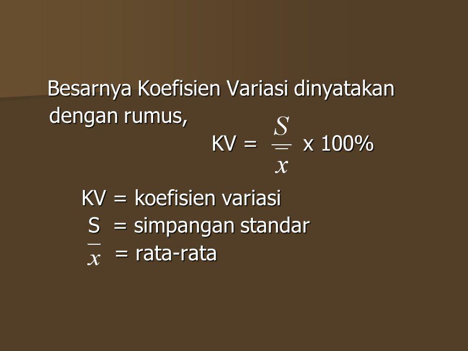 dengan rumus, KV = x 100% KV = koefisien variasi S = simpangan standar