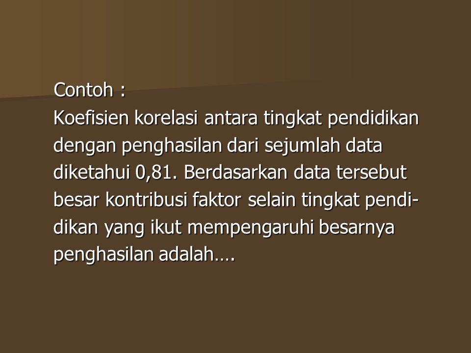 Contoh : Koefisien korelasi antara tingkat pendidikan