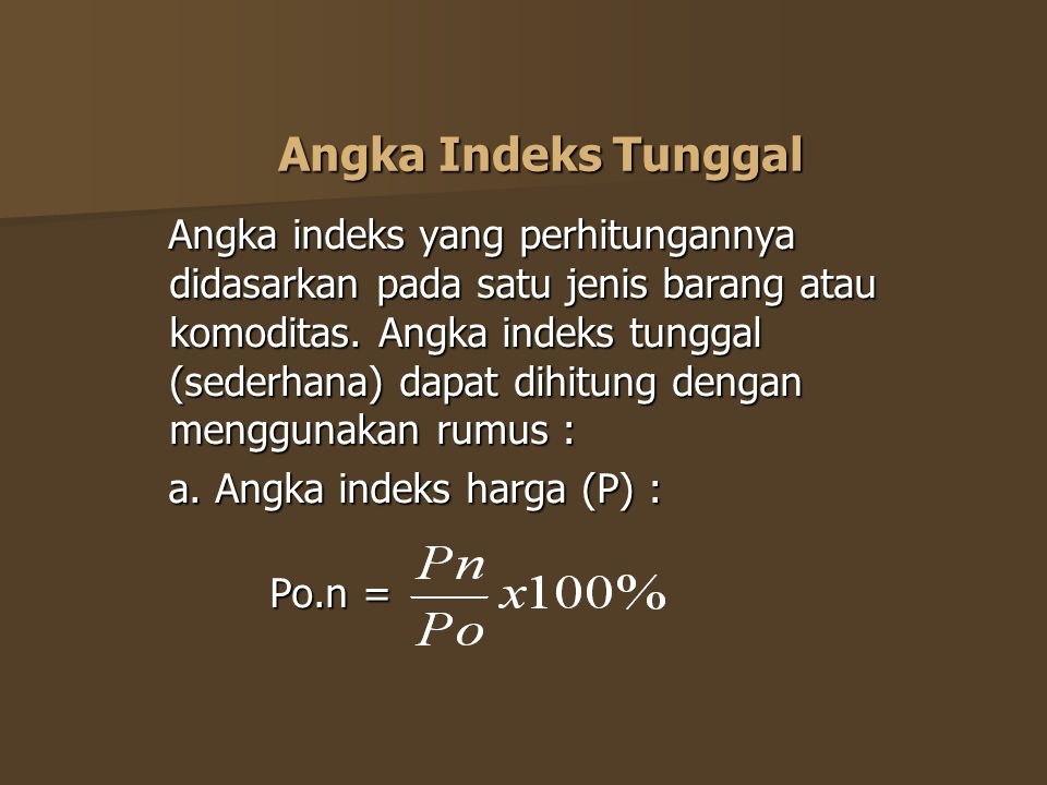 Angka Indeks Tunggal