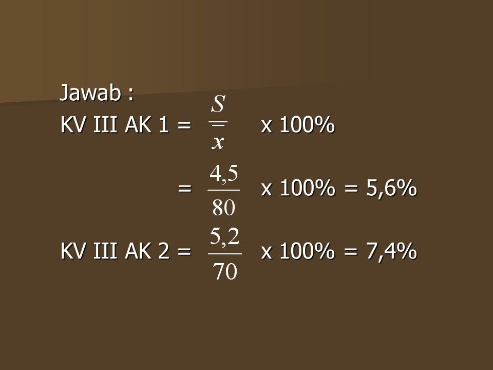 KV III AK 1 = x 100% = x 100% = 5,6% KV III AK 2 = x 100% = 7,4%