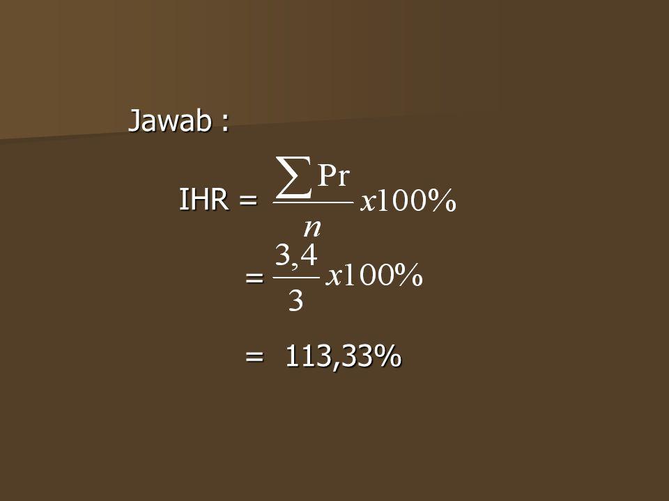 Jawab : IHR = = = 113,33%