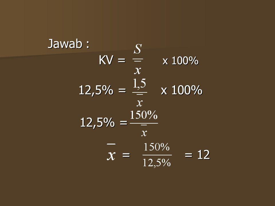 Jawab : KV = x 100% 12,5% = x 100% 12,5% = = = 12