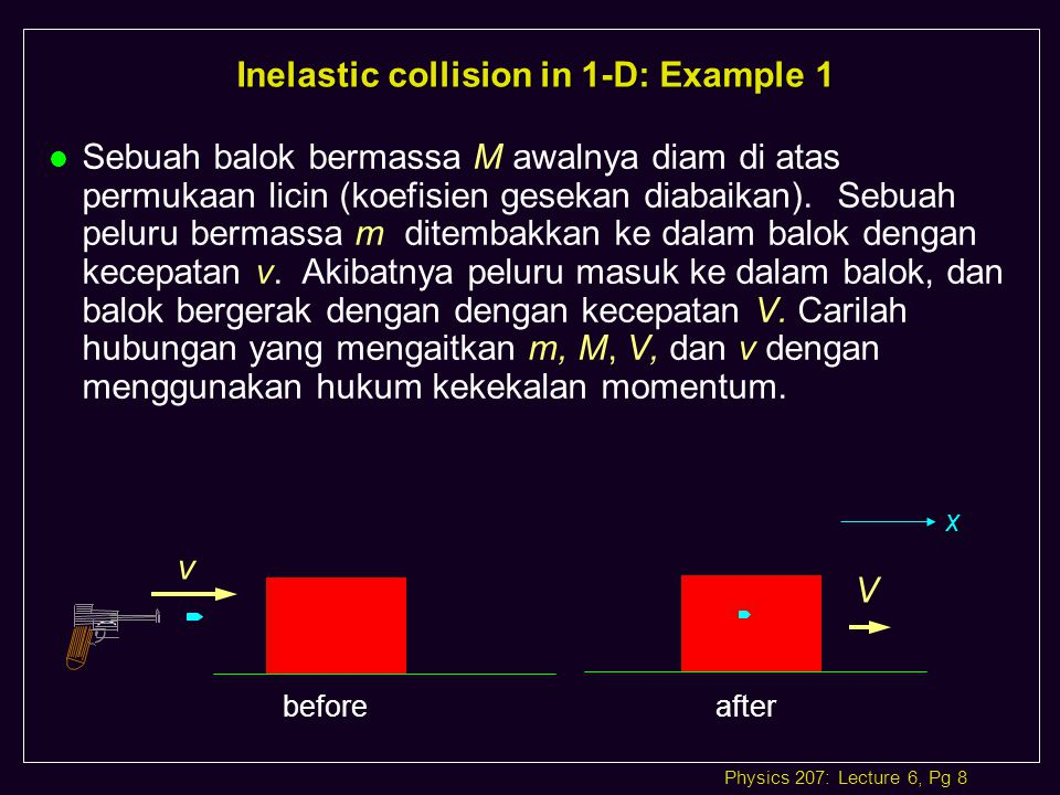 Inelastic collision in 1-D: Example 1