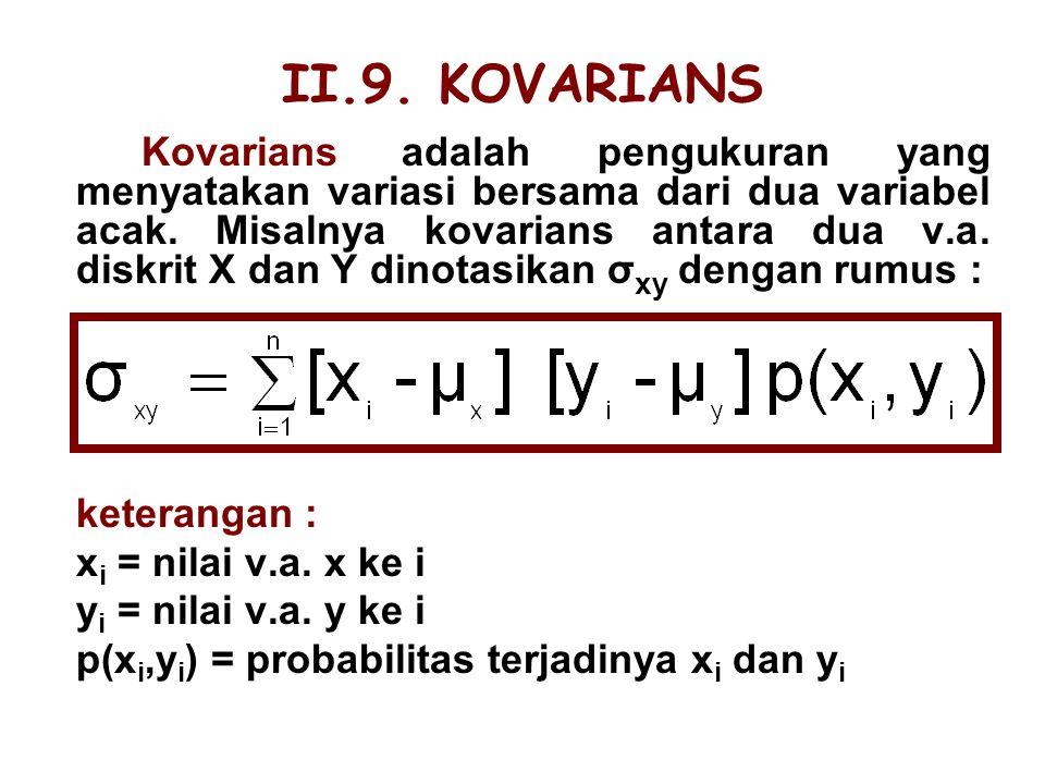II.9. KOVARIANS keterangan : xi = nilai v.a. x ke i