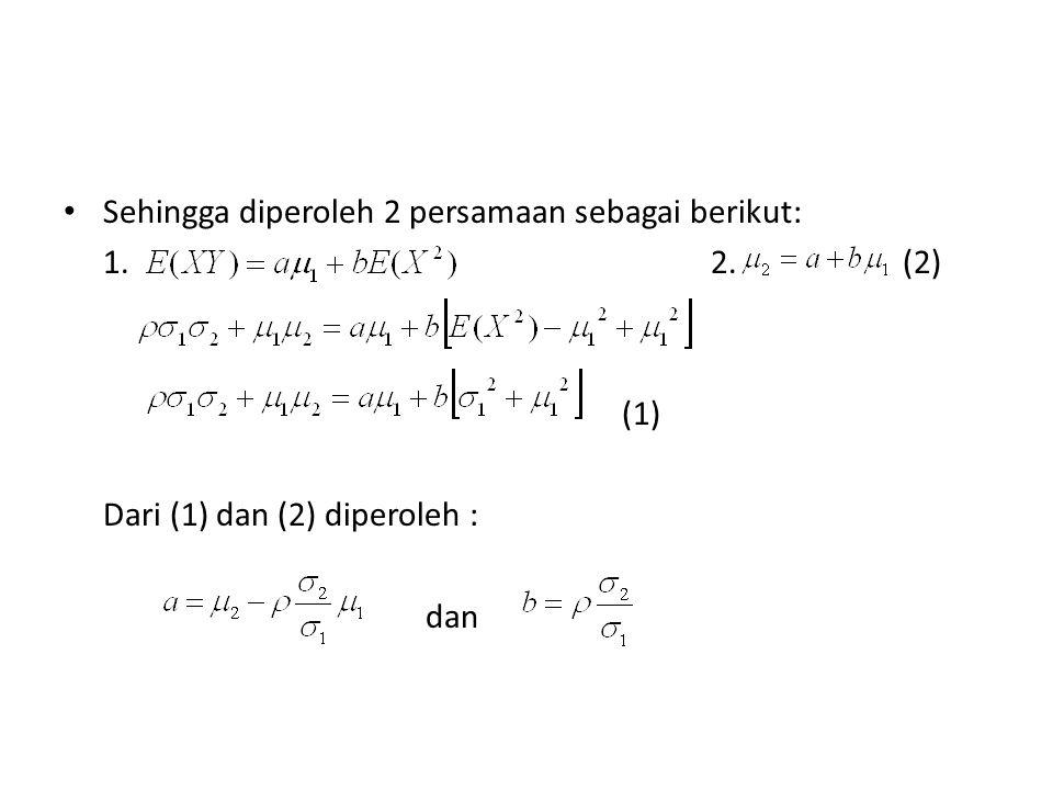 Sehingga diperoleh 2 persamaan sebagai berikut: