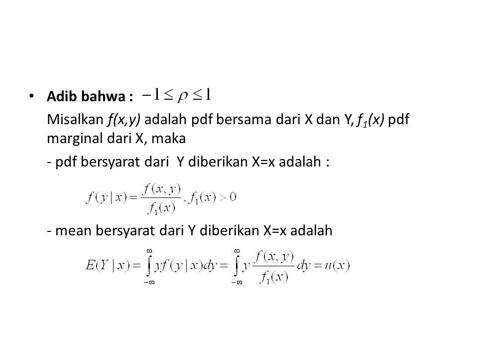 Adib bahwa : Misalkan f(x,y) adalah pdf bersama dari X dan Y, f1(x) pdf marginal dari X, maka. - pdf bersyarat dari Y diberikan X=x adalah :