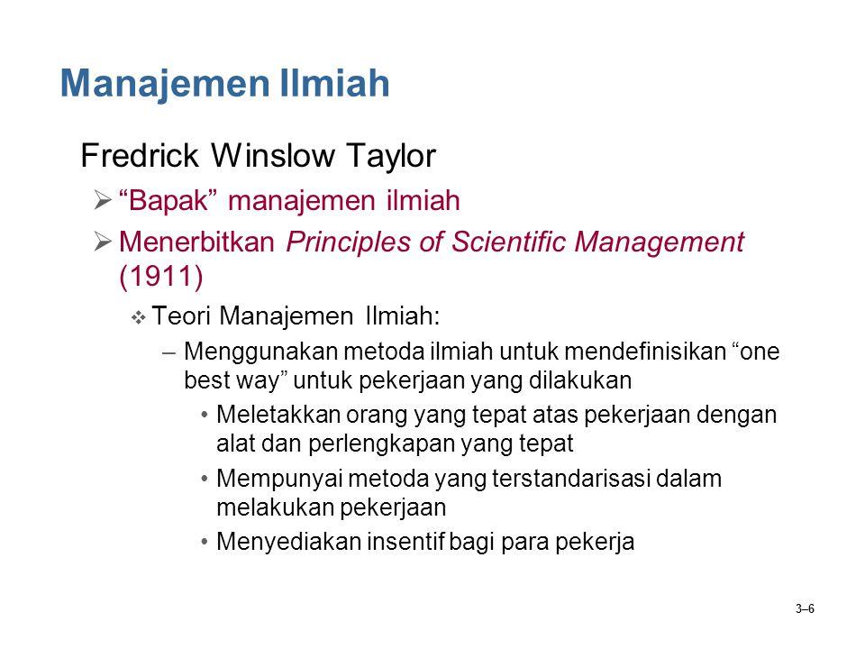 Manajemen Ilmiah Fredrick Winslow Taylor Bapak manajemen ilmiah