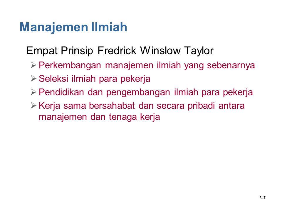 Manajemen Ilmiah Empat Prinsip Fredrick Winslow Taylor