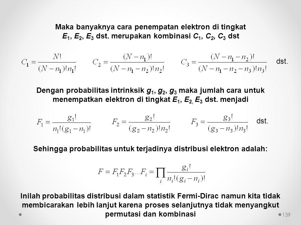 Sehingga probabilitas untuk terjadinya distribusi elektron adalah: