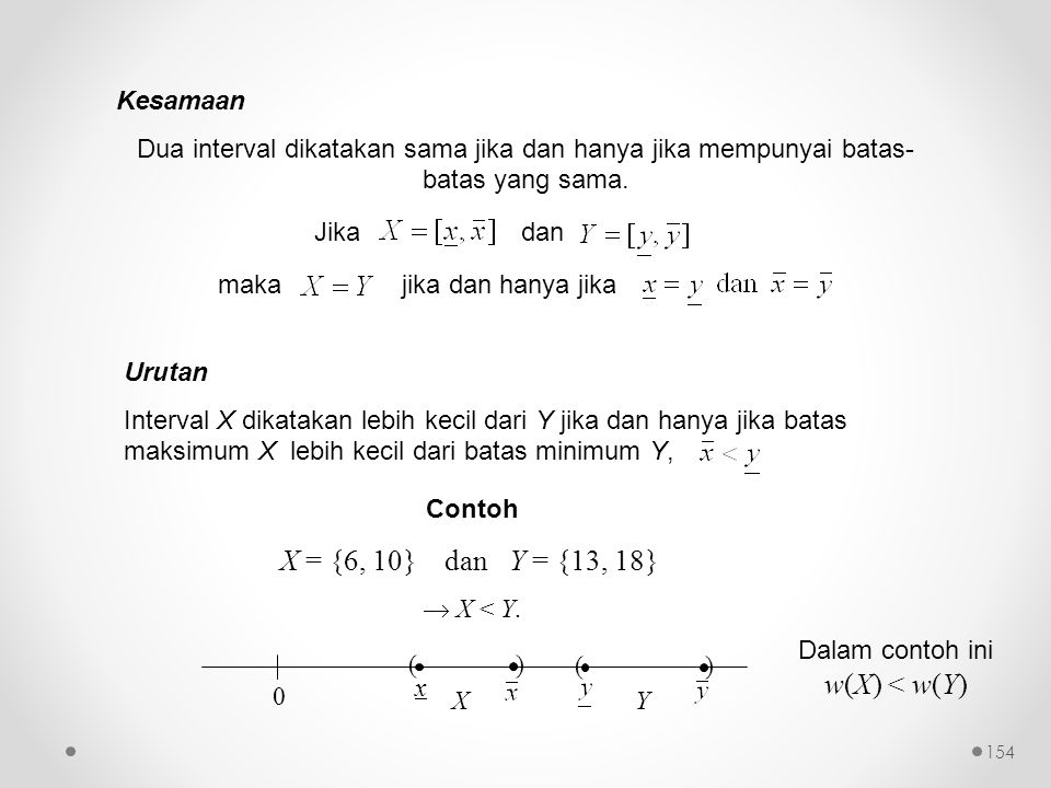 Dalam contoh ini w(X) < w(Y)