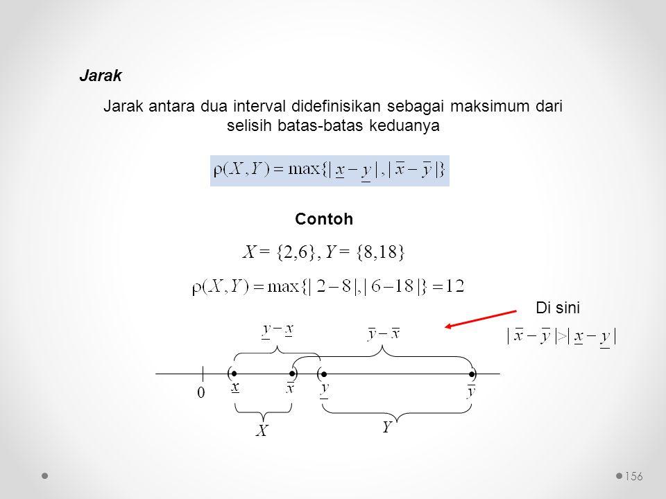 Jarak Jarak antara dua interval didefinisikan sebagai maksimum dari selisih batas-batas keduanya. Contoh.