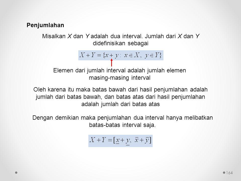 Penjumlahan Misalkan X dan Y adalah dua interval. Jumlah dari X dan Y didefinisikan sebagai.