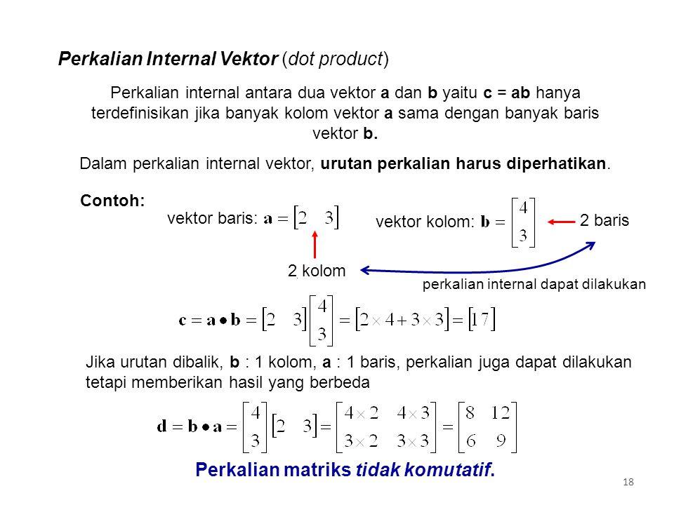 Dalam perkalian internal vektor, urutan perkalian harus diperhatikan.