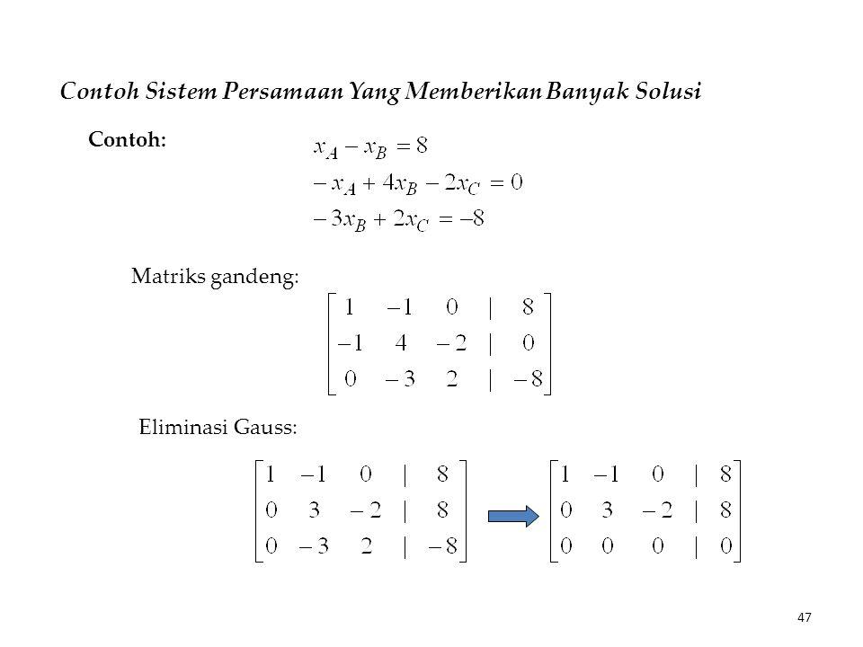 Contoh Sistem Persamaan Yang Memberikan Banyak Solusi