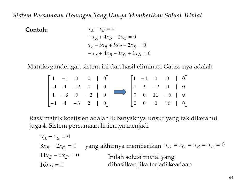 Sistem Persamaan Homogen Yang Hanya Memberikan Solusi Trivial