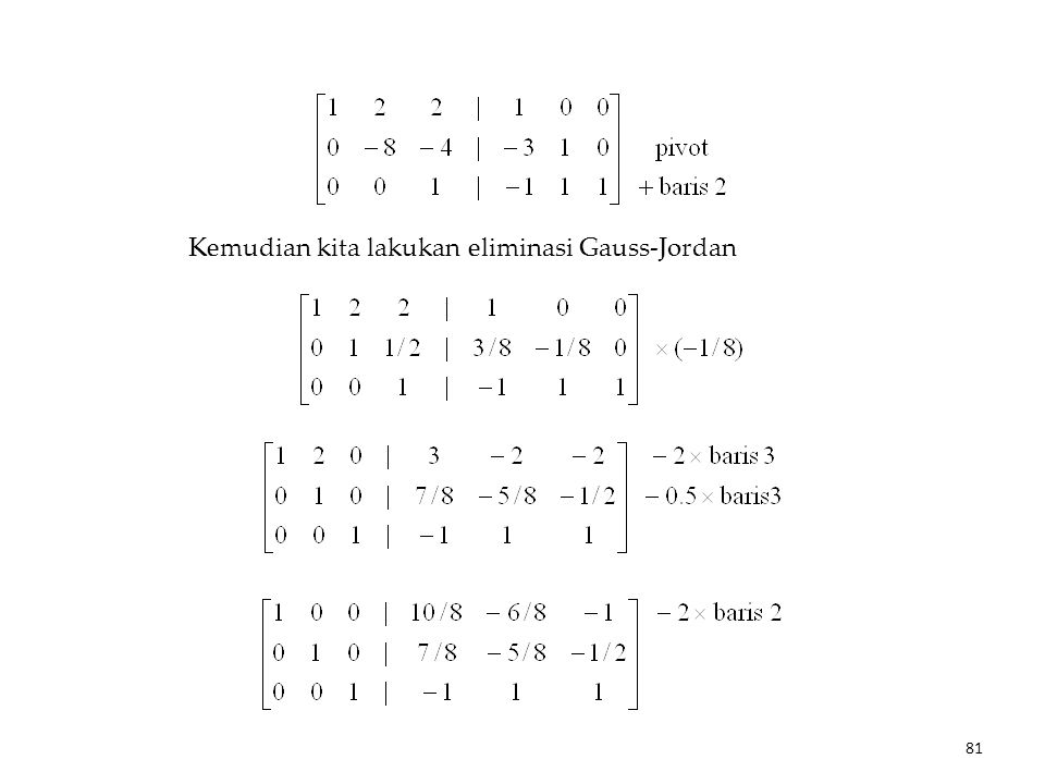 Kemudian kita lakukan eliminasi Gauss-Jordan