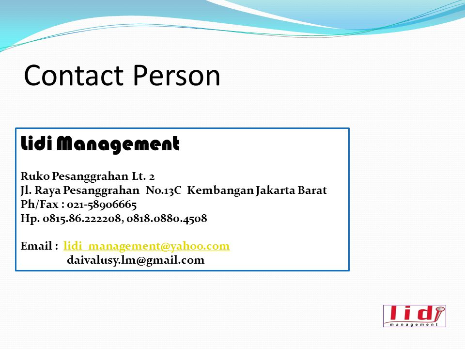 Contact Person Lidi Management Ruko Pesanggrahan Lt. 2
