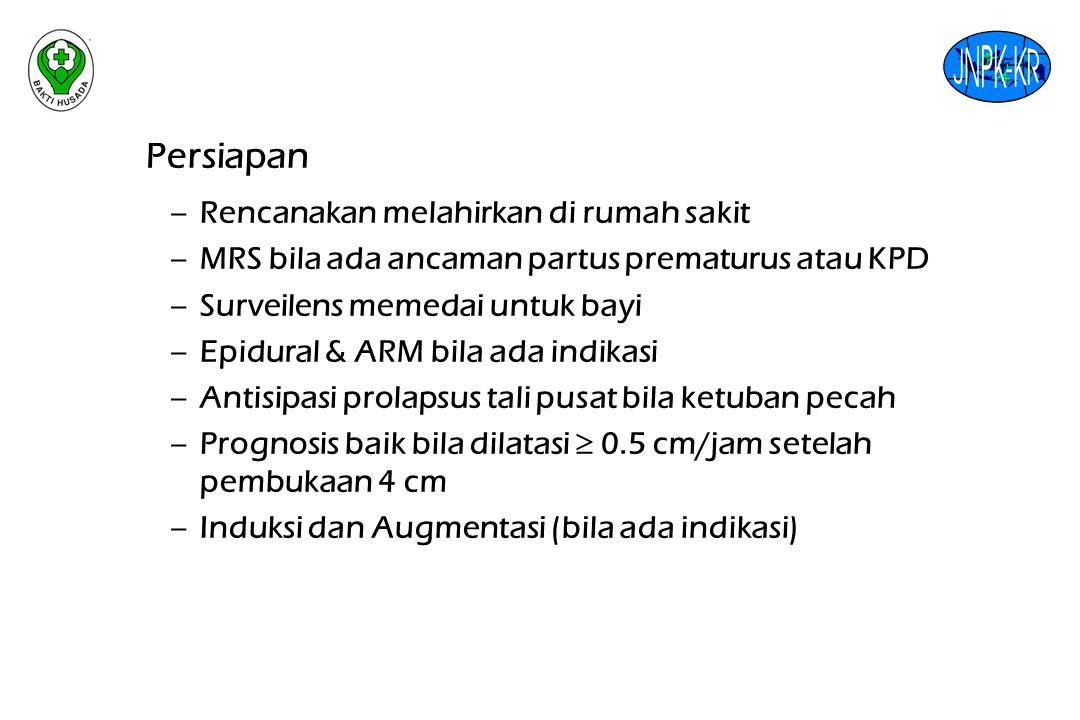 Persiapan Rencanakan melahirkan di rumah sakit. MRS bila ada ancaman partus prematurus atau KPD. Surveilens memedai untuk bayi.
