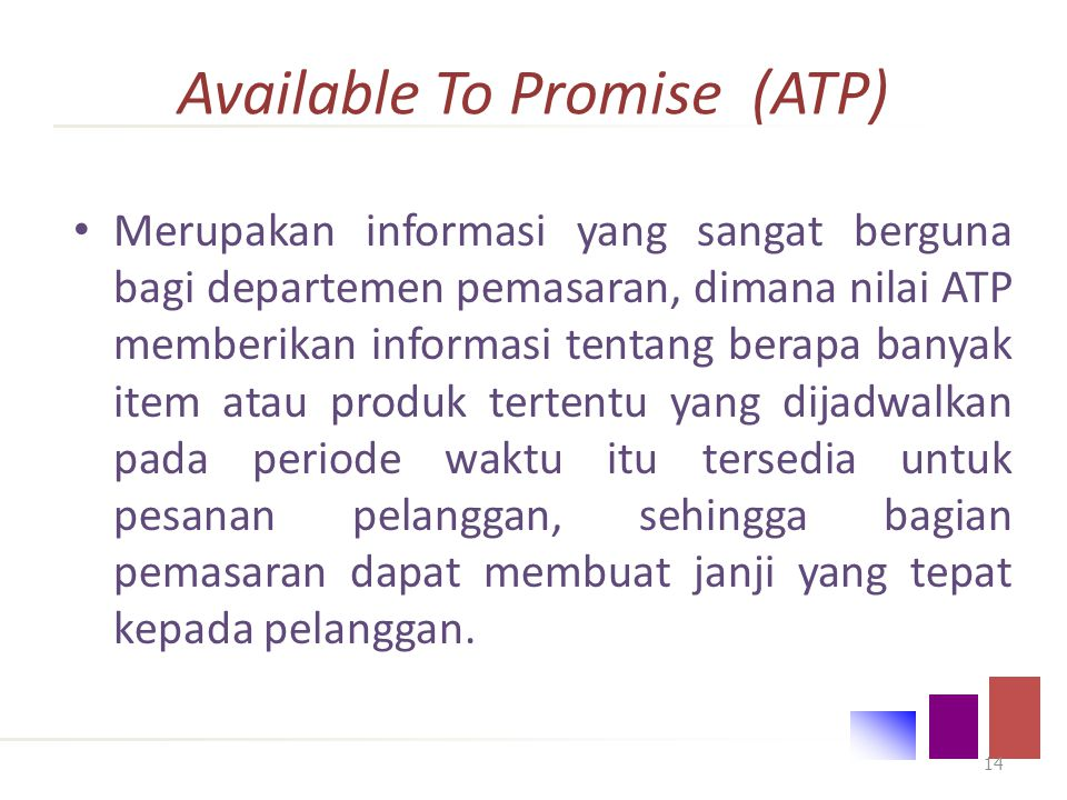 Available To Promise (ATP)