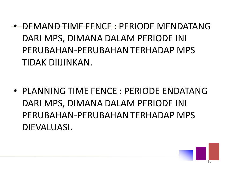 DEMAND TIME FENCE : PERIODE MENDATANG DARI MPS, DIMANA DALAM PERIODE INI PERUBAHAN-PERUBAHAN TERHADAP MPS TIDAK DIIJINKAN.