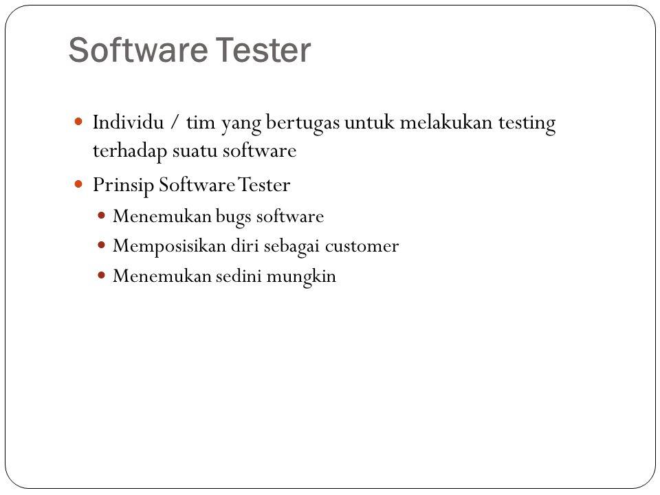 Software Tester Individu / tim yang bertugas untuk melakukan testing terhadap suatu software. Prinsip Software Tester.