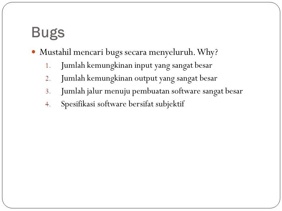 Bugs Mustahil mencari bugs secara menyeluruh. Why