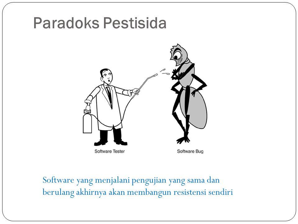Paradoks Pestisida Software yang menjalani pengujian yang sama dan berulang akhirnya akan membangun resistensi sendiri.