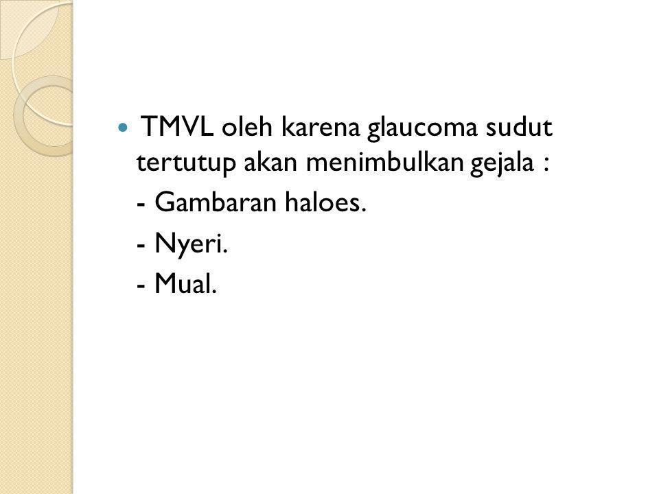 TMVL oleh karena glaucoma sudut tertutup akan menimbulkan gejala :
