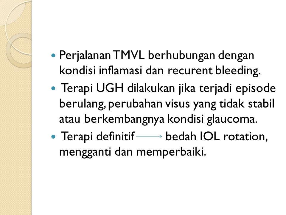 Perjalanan TMVL berhubungan dengan kondisi inflamasi dan recurent bleeding.
