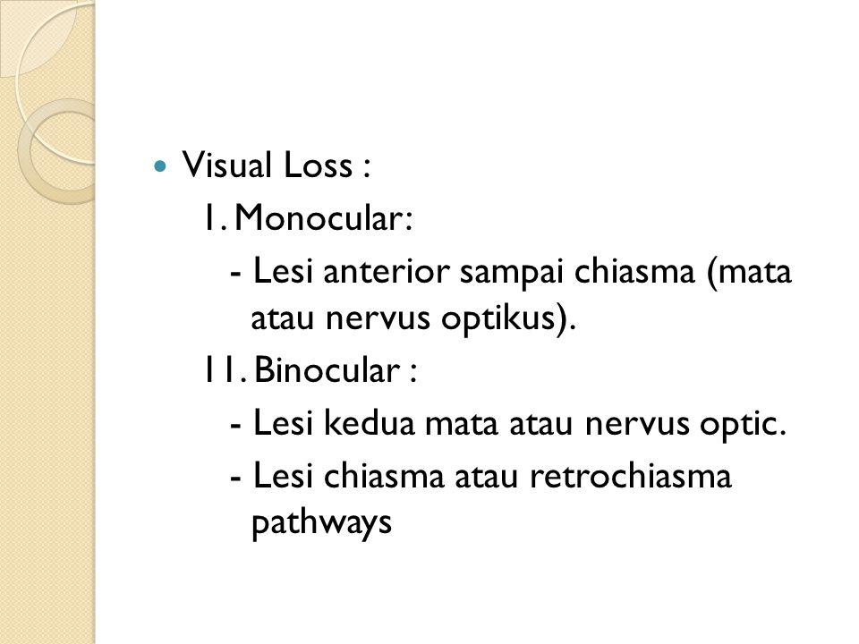 Visual Loss : 1. Monocular: - Lesi anterior sampai chiasma (mata atau nervus optikus). 11. Binocular :