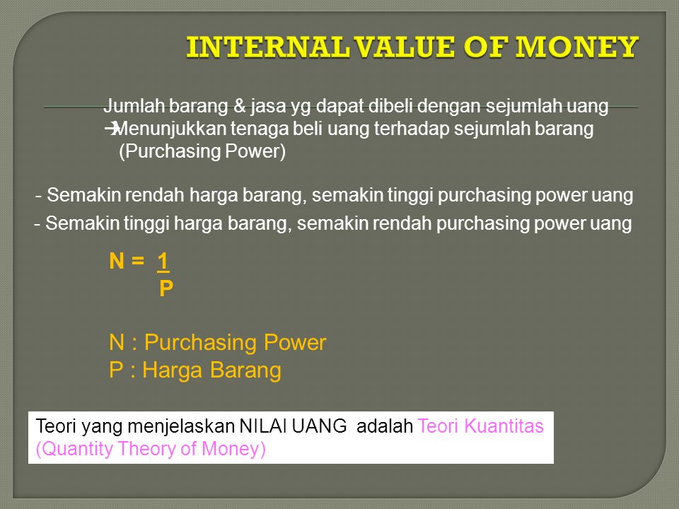 INTERNAL VALUE OF MONEY