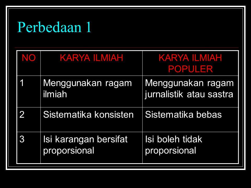 Perbedaan 1 NO KARYA ILMIAH KARYA ILMIAH POPULER 1