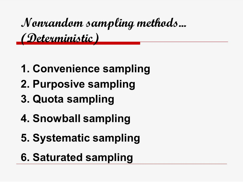Nonrandom sampling methods... (Deterministic)